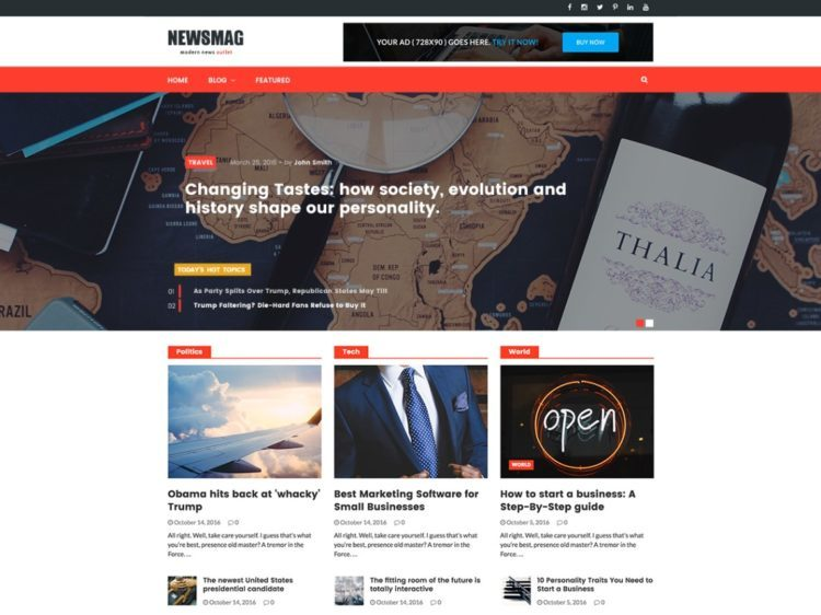 Newsmag Lite - WordPress Templates Free