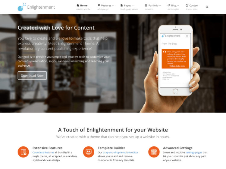 Enlightenment - WordPress Templates Free