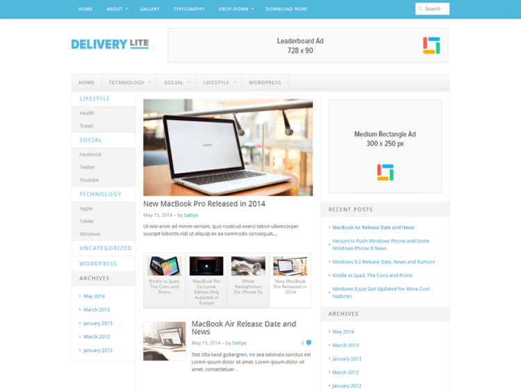 Delivery Lite - WordPress Templates Free