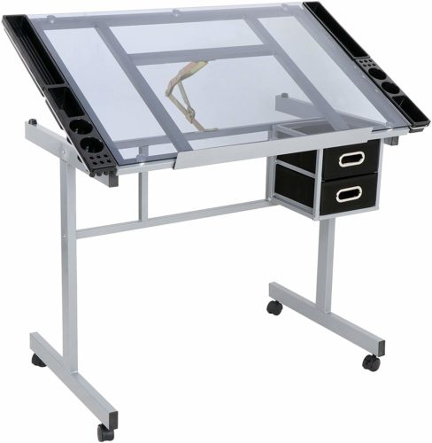 ZENY Glass Top Adjustable Drawing Table