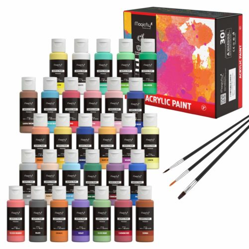 Magicfly 30 Colors Acrylic Paint Set (2fl oz/60ml Each), Non-Toxic Craft Paints with 3 Brushes, for Multi-Surface Paint on Canvas, Paper, Wood, Stone,...