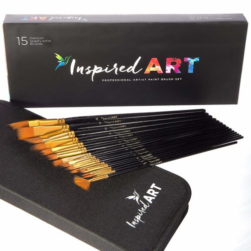 Paint Brush Set of 15 Art Brushes for Acrylic Painting, Watercolor, Oil and Gouache. Professional Artist Quality Paintbrushes, No-Shed Bristles. Protective...