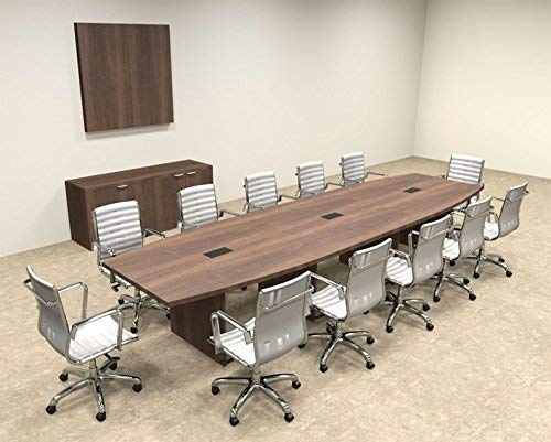 Modern Boat Shaped 14' Feet Conference Table