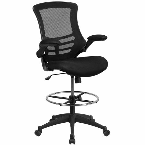 Flash Furniture Mid-Back Black Mesh Ergonomic Drafting Chair with Adjustable Foot Ring and Flip-Up Arms - BL-X-5M-D-GG
