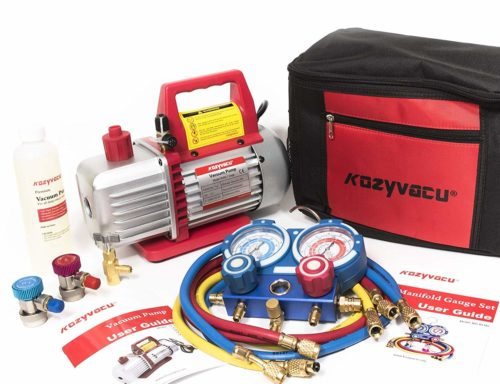 Kozyvacu AUTO AC Repair Complete Tool Kit with 1-Stage 3.5 CFM - air conditioning vacuum pumps