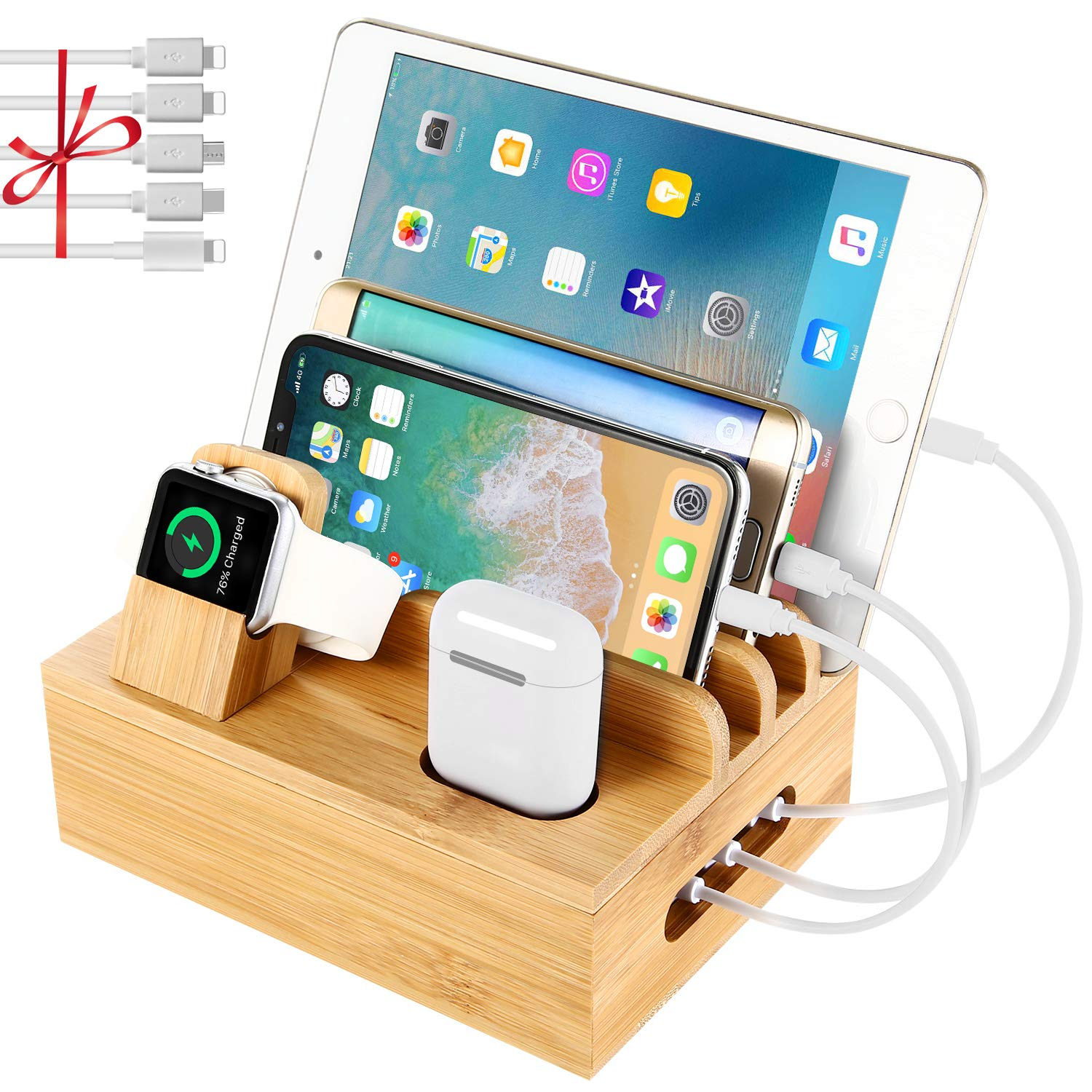 Bamboo Charging Station Dock