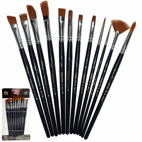Paint Brushes 12 Set Professional Paint Brush Round Pointed Tip