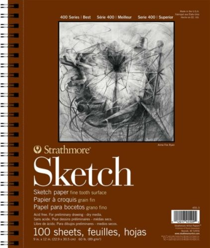 """Strathmore 400 Series Sketch Pad, 9""""x12"""" Wire Bound, 100 Sheets 
