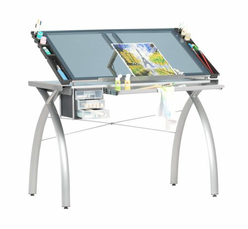 SD STUDIO DESIGNS Futura Modern Glass Top Adjustable Drafting Table - Industrial Designer Should Have