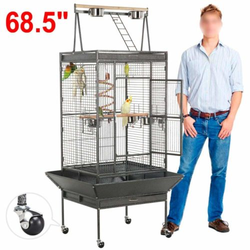 Yaheetech 69-inch Wrought Iron Rolling Large Parrot Bird Cage | Parrot cage