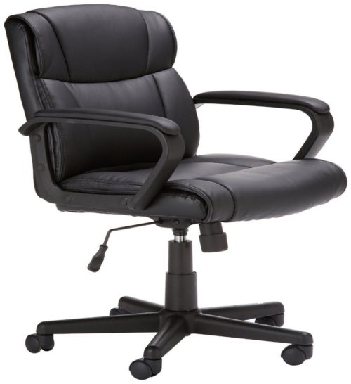 AmazonBasics Classic Leather-Padded Mid-Back Office Computer Desk Chair