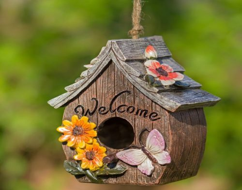Butterfly and Flowers Welcome Decorative Hand-Painted Birdhouse | Birdhouse