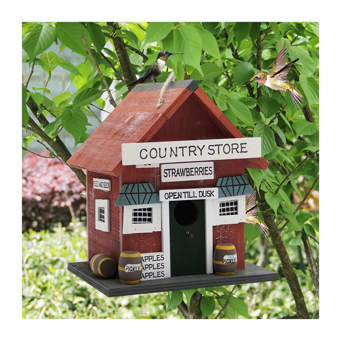 MorTime Wood Birdhouse, Retro Arts and Crafts Country Cottages Birdhouses
