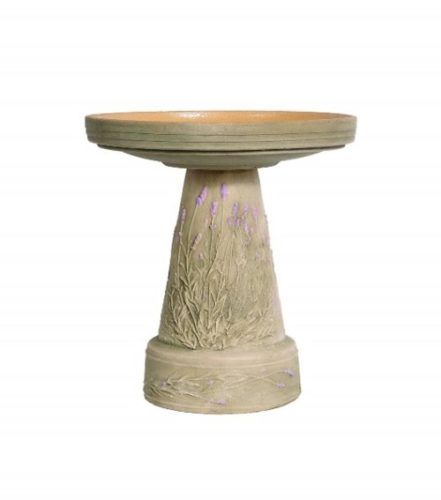 Burley Clay Lavender Birdbath Set - Bird bath