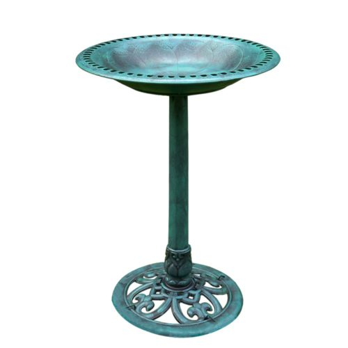 VIVOHOME 28 Inch Height Polyresin Lightweight Antique Outdoor Garden Birdbath Copper