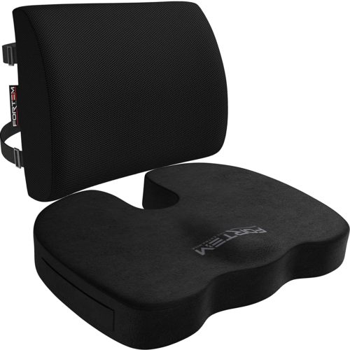 FORTEM Seat Cushion & Lumbar Support for Office Chair, Car, Wheelchair, Memory Foam Pillow, Washable Covers