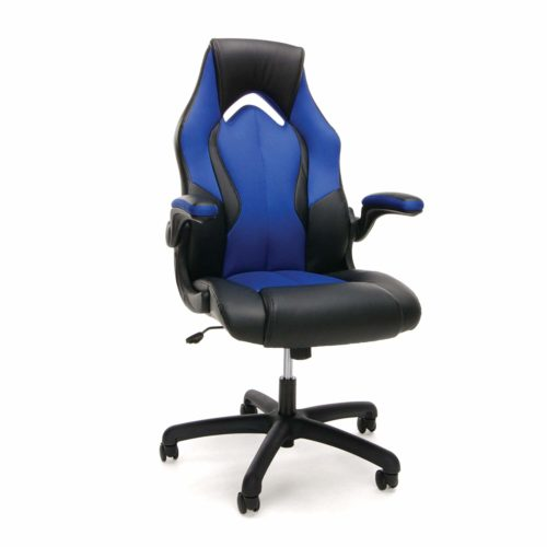 OFM Essentials Collection High-Back Racing Style Bonded Leather Gaming Chair - Cheap Gaming Chairs, in Blue