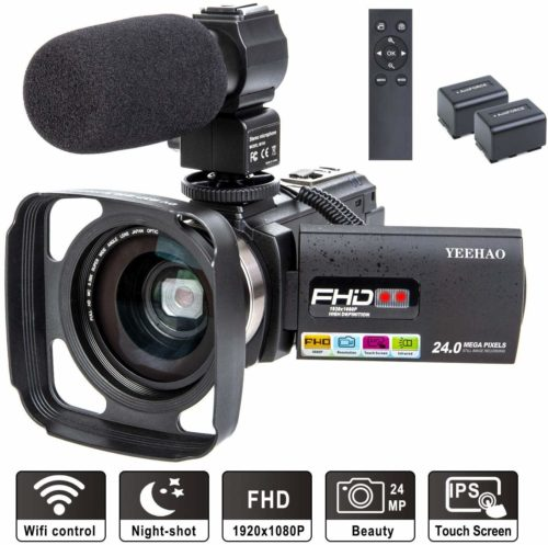 Camcorder Video Camera YEEHAO WiFi HD 1080P 24MP 16X Powerful Digital Zoom Camera with Microphone and Wide Angle Lens Remote Control Lens Hood Infrared Night Vision YouTube Vlogging Camera Recorder - Professional Video Cameras