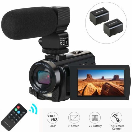 Video Camera Camcorder,Actinow Digital Camera Recorder with Microphone HD 1080P 24MP 16X Digital Zoom 3.0 Inch LCD 270 Degrees Rotatable Screen YouTube Vlogging Camera with Remote Control,2 Batteries - Professional Video Cameras