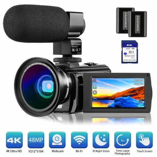 """4K Camcorder Video Camera Rosdeca Ultra HD 48.0MP WiFi Digital Camera IR Night Vision 3.0"""" IPS Touch Screen 16X Digital Zoom with External Microphone, Wide Angle Lens, 2 Batteries and Memory Card - Professional Video Cameras"""