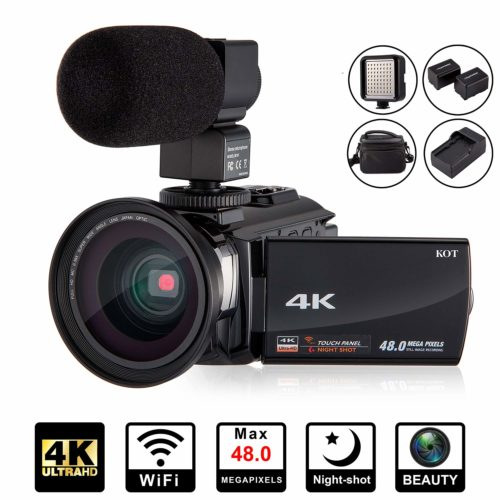 4K Camcorder Video Camera KOT HD WiFi 3.0 Inch IPS Touch Screen 48MP 16X Powerful Digital Zoom Camera with Microphone and Wide Angle Lens IR Night Vision Vlogging Video Camera Recorder Handy cam - Professional Video Cameras