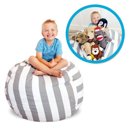"Soothing Company Stuffed Animal Bean Bag Chair for Kids - Extra Large Empty Beanbag - Kid Toy Storage Covers for Your Child's Stuffed Animals and Blankets | Premium Cotton Canvas (38"", Grey Stripe)"