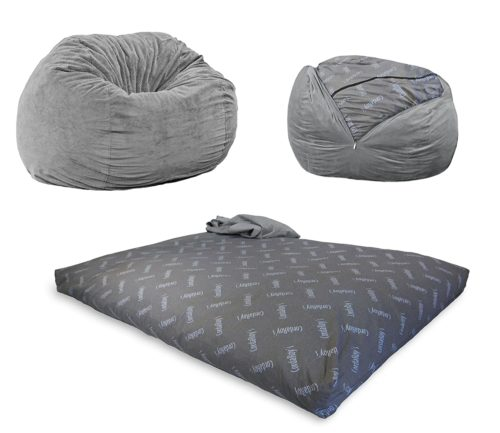 CordaRoy's Chenille Bean Bag Chair, Convertible Chair Folds from Bean Bag to Bed, As Seen on Shark Tank - Charcoal, Full Size