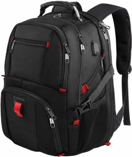 Travel Backpacks for Men, Extra Large College School Laptop Bookbags Gifts for Men Wowen with USB Charging Port,TSA Friendly Water Resistant Business Computer Bag Fit 17 Inch Laptops 45L,Black - Waterproof Laptop Backpacks