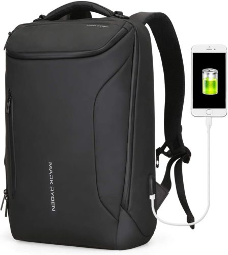 Water-Proof Business Laptop Backpack Markryden Large-Capacity Modern Rucksack Bags for Men with USB Charging Port for School Travel Work Fits 17.3/15.6 Inch... - Waterproof Laptop Backpacks