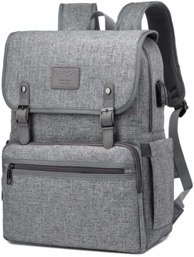 Anti Theft Laptop Backpack Men Women Vintage Backpack Bookbag School College Backpacks Stylish Water Resistant Backpack with USB Port Fashion Grey Fits 15.6...