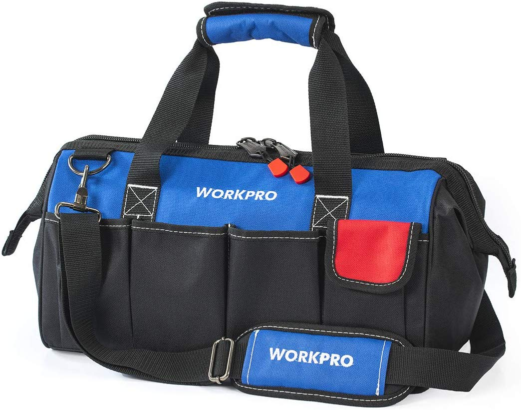 WORKPRO 18-inch Close Top Wide Mouth Storage Tool Bag - Carpenter Tool Bags