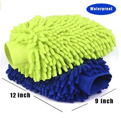 Car Wash Mitt 2 Pack - Extra Large Size Clean Tools Kits- Premium Chenille Microfiber Winter Waterproof Cleaning Mitts - Washing Glove with Lint Free & Scratch Free