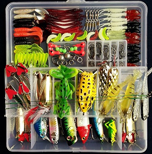 PortableFun Fishing Tackle Lots, Fishing Baits Kit Set with Free Tackle Box,for Freshwater Trout Bass Salmon - Cheap Fishing Gear