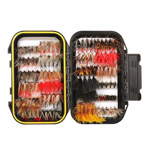 FISHINGSIR Fly Fishing Flies Kit - 64/100/110/120pcs Handmade Fly Fishing Lures - Dry/Wet Flies,Streamer, Nymph, Emerger with Waterproof Fly Box - Cheap Fishing Gear
