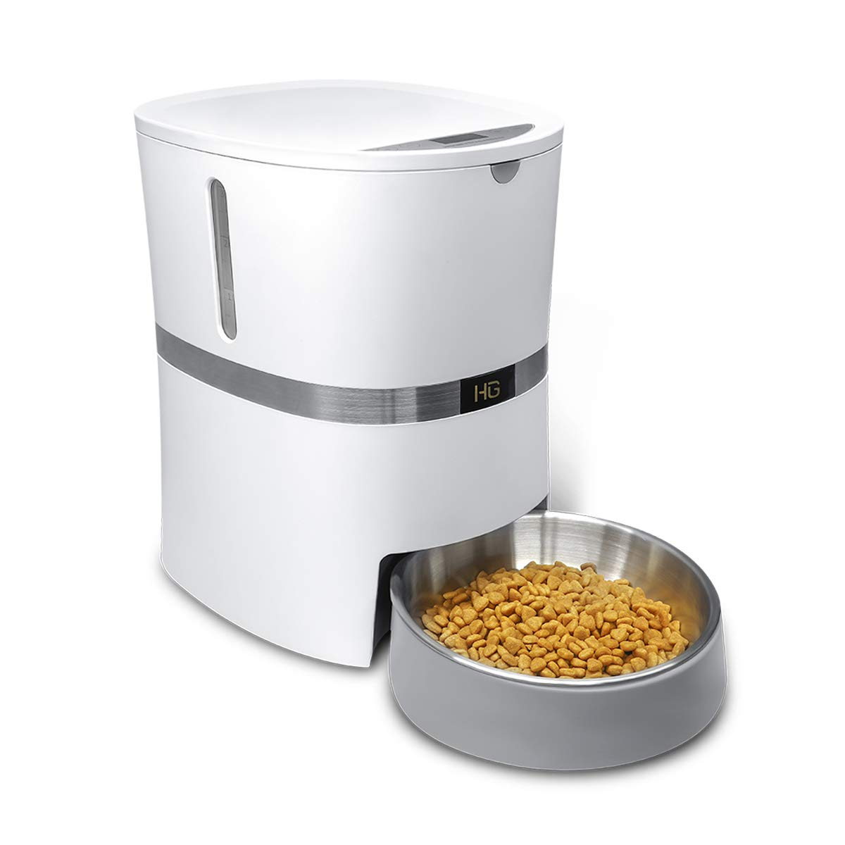 HoneyGuaridan A36 Automatic Cat Feeder, Pet Automatic Food Dispenser with Stainless Steel Food Bowl, Designed for Cat, Small & Medium-Sized Dog, Rabbit- Batteries and Adapter Power Support