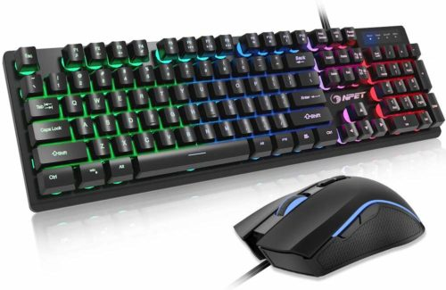 NPET S20 Gaming Keyboard and Mouse Combo, Backlit Wired Ergonomic Mechanical Feeling Keyboard, LED Lighting Mouse with 3200 DPI for Windows Computer Gamers (Gaming Mouse and Keyboard Set) - Cheap Gaming Keypads