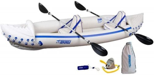 Sea Eagle 370 Pro 3 Person Inflatable Portable Sport Kayak Canoe Boat w/ Paddle - Fishing Kayak Under 500s