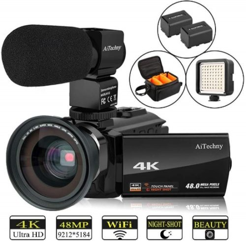 """Video Camera 4K Camcorder Vlogging Camera for YouTube AiTechny Ultra HD 48MP Digital WiFi Camera 3.0"""" IPS Touch Screen IR Night Vision 16X Digital Zoom Recorder with Microphone, Wide Angle Lens - Professional Video Cameras"""