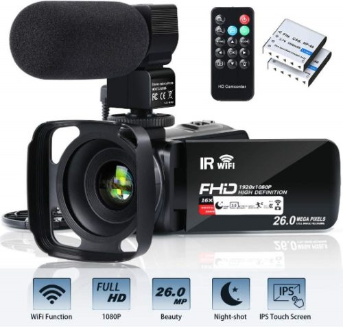 """Video Camera Camcorder WiFi FHD 1080P 30FPS 26MP YouTube Vlogging Camera 16X Digital Zoom 3.0"""" Touch Screen Digital Camera Video Recorder with Microphone Remote Control Lens Hood Infrared Night Vision - Professional Video Cameras"""