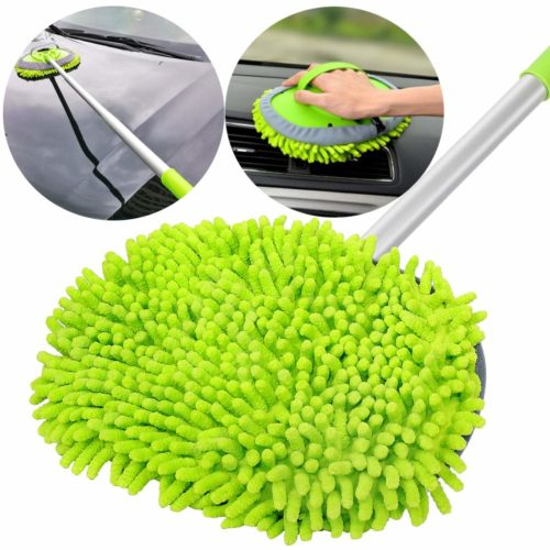"""GreatCool 2 in 1 Chenille Microfiber Car Wash Mop Mitt with 44.5"""" Aluminum Alloy Long Handle,Brush Duster Not Hurt Paint Scratch Free Cleaning Tool Dust Collector Supplies for Washing Car,Truck, RV"""