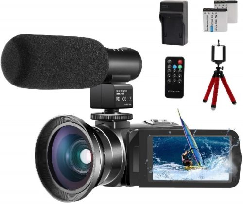 """Video Camera 1080P Camcorder CofunKool 24.0MP Vlogging Camera for YouTube, 270° Flipping 3.0"""" IPS Touch Screen IR Night Vision with Microphone Wide Angle Lens Remote Control Mini Tripod - Professional Video Cameras"""