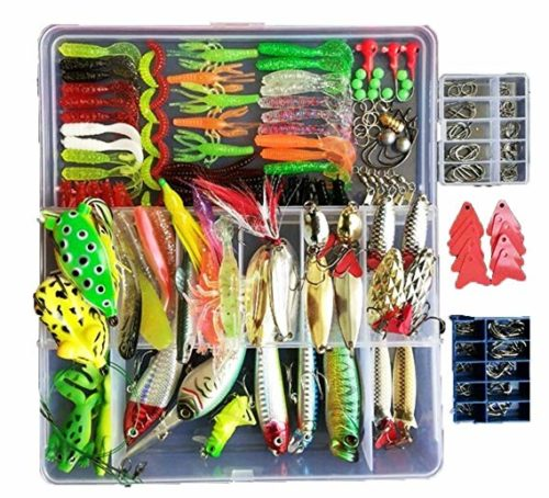Topconcpt 275pcs Freshwater Fishing Lures Kit Fishing Tackle Box with Tackle Included Frog Lures Fishing Spoons Saltwater Pencil Bait Grasshopper Lures for Bass Trout Bass Salmon - Cheap Fishing Gear