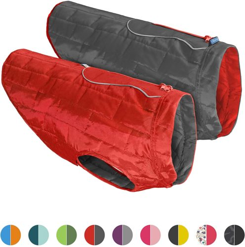 Kurgo Dog Jacket | Reversible Winter Jacket for Dogs | Pet Coat for Hiking | Water Resistant | Reflective | Lightweight | Wear with Harness | Athletic | Loft Jacket | For Small, Medium, & Large Dogs
